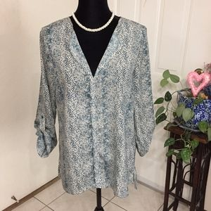 Bobeau Collection Teal Printed Roll Tab Sleeve Top